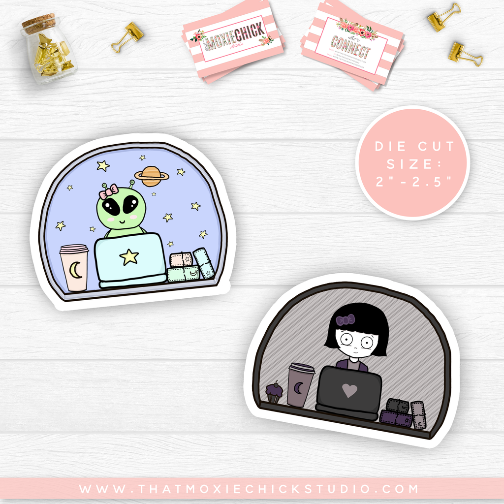 "NEW RELEASE // NOVA AND WINNIE Sticker DIE CUTS 2"" - 2.5"" - That Moxie Chick Studio"