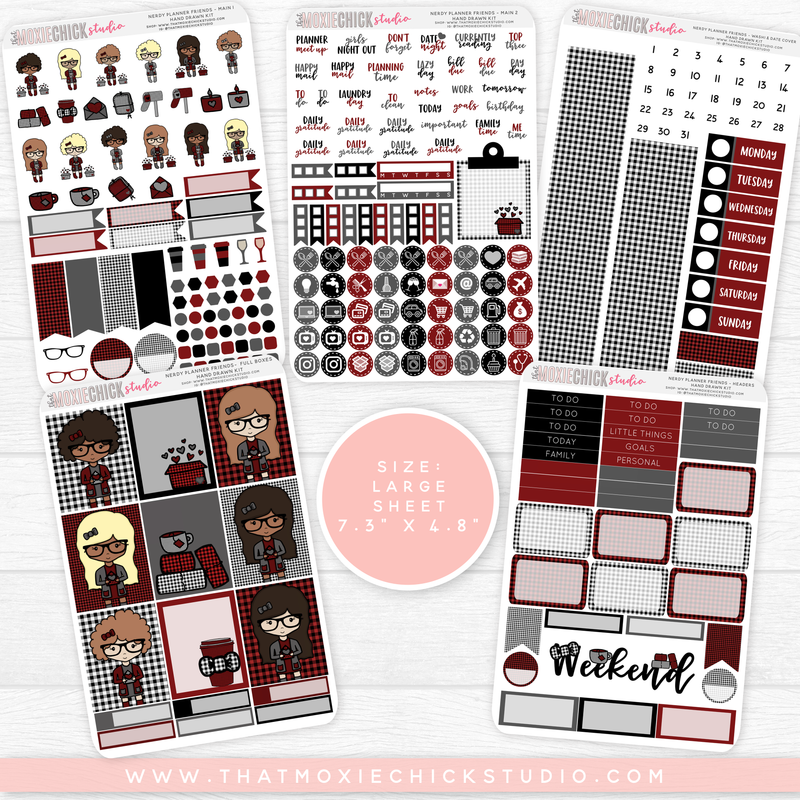 "NERDY PLANNER FRIENDS ""BUFFALO PLAID"" // HAND DRAWN KIT // 5 LARGE SHEETS - That Moxie Chick Studio"