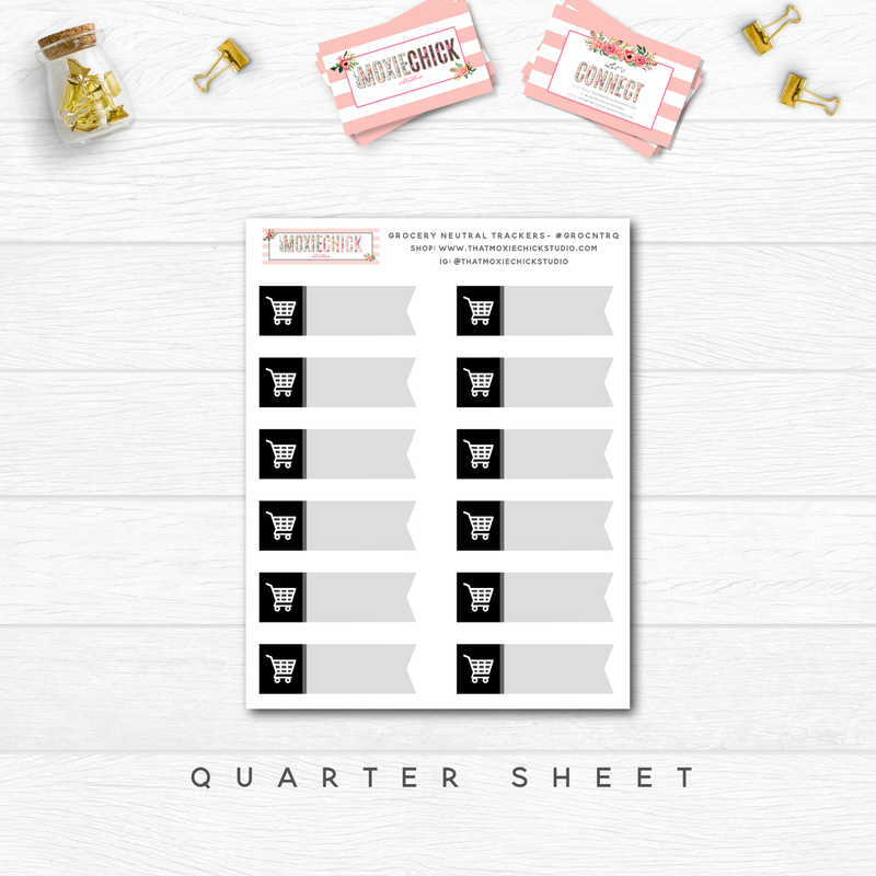 GROCERY / SHOPPING NEUTRAL TRACKERS // QUARTER SHEET - That Moxie Chick Studio