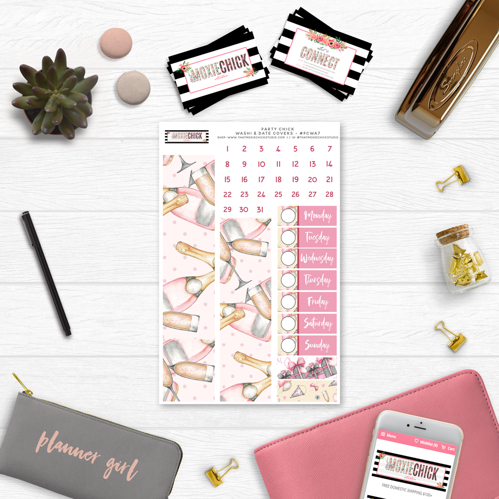 New Release // PARTY CHICK WASHI AND DATE COVERS // #PCWA7 - That Moxie Chick Studio