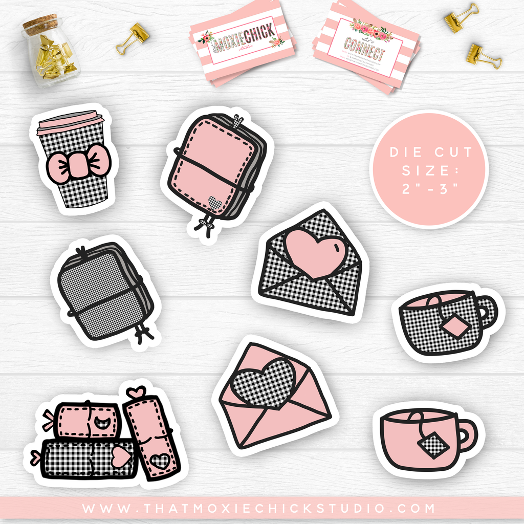 "NEW RELEASE // Plaid and Pink Sticker DIE CUTS 2"" - 2.5"" - That Moxie Chick Studio"