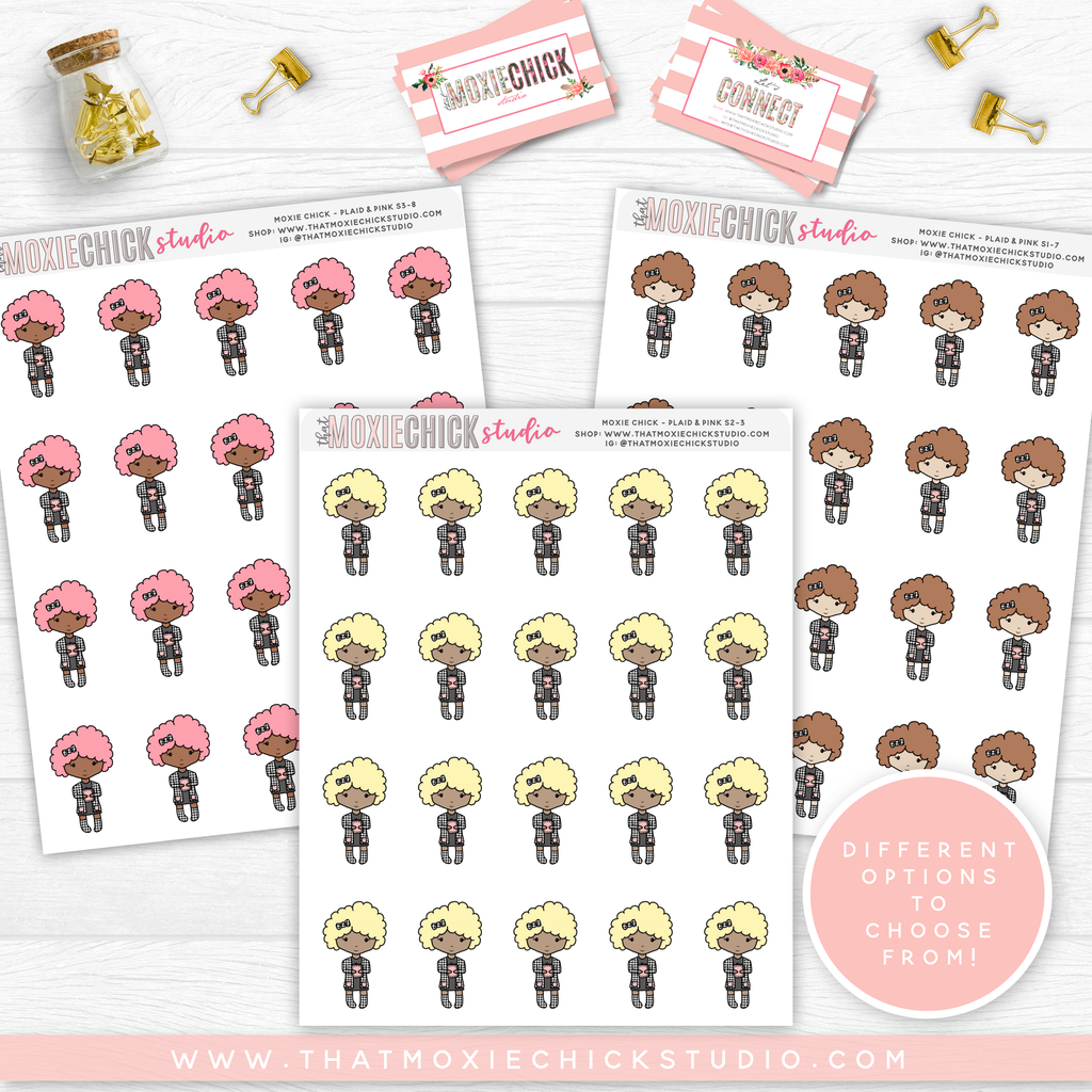 NEW RELEASE // MOXIE CHICKS HOLDING PLANNER // CURLY HAIR // QUARTER SHEET // PINK AND PLAID - That Moxie Chick Studio