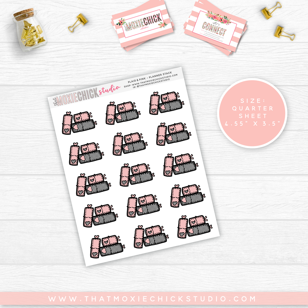NEW RELEASE // PLAID AND PINK PLANNER STACK // QUARTER SHEET - That Moxie Chick Studio