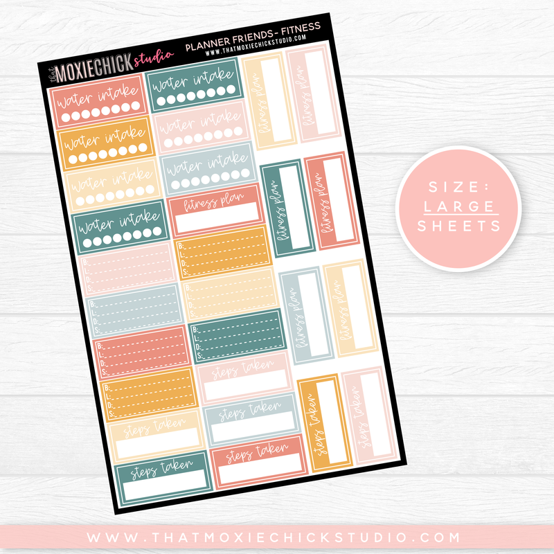 PLANNER FRIENDS - FITNESS SHEET // LARGE SINGLE SHEET // NEW RELEASE