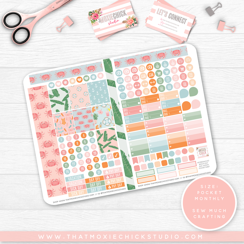 NEW RELEASE // BEACH DAY 'SEW MUCH CRAFTING MONTHLY' // POCKET SIZE - That Moxie Chick Studio