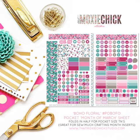 Pocket Size - BOHO FLORAL 'Month of MARCH' #POBOFO1 - POCKET SIZE FOLDABLE SHEET - That Moxie Chick Studio