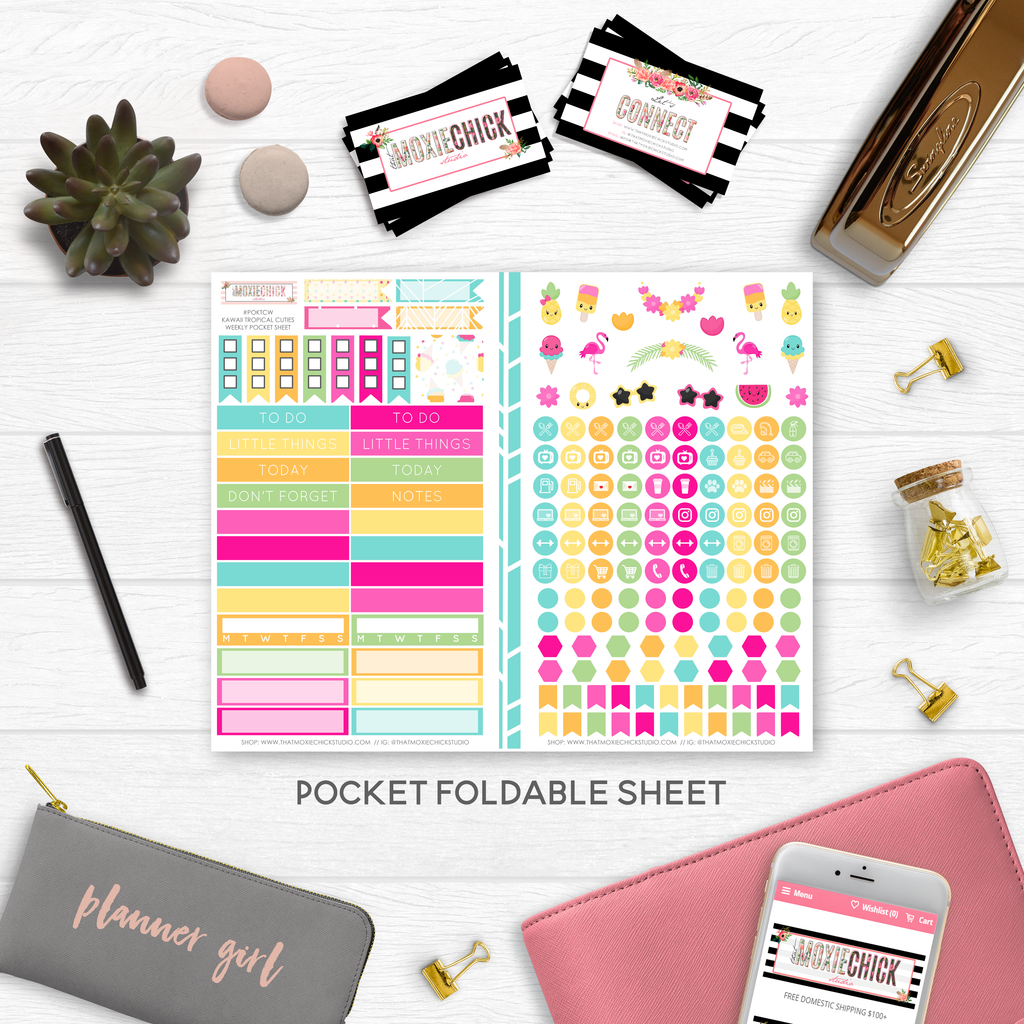 NEW RELEASE // KAWAII TROPICAL CUTIES 'WEEKLY' POCKET SIZE - That Moxie Chick Studio