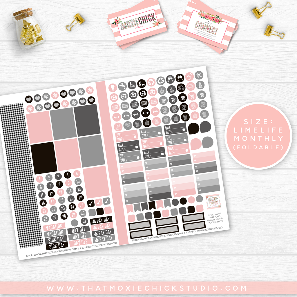 MOXIE CHICKS PLAID AND PINK 'MONTHLY' // POCKET SIZE - That Moxie Chick Studio