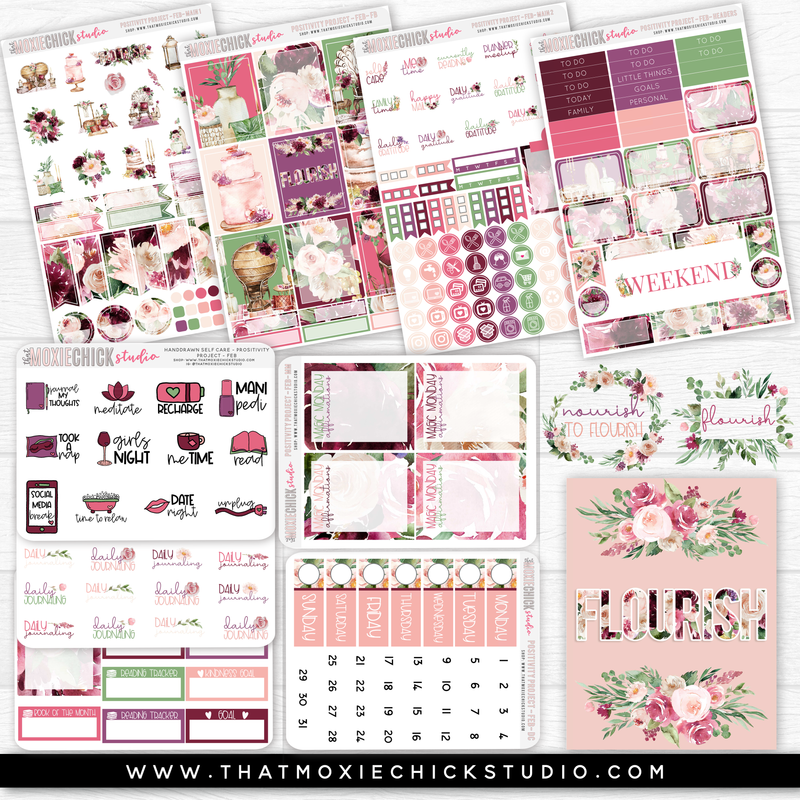 POSITIVITY PROJECT KIT - FEBRUARY - FLOURISH // NEW RELEASE - That Moxie Chick Studio