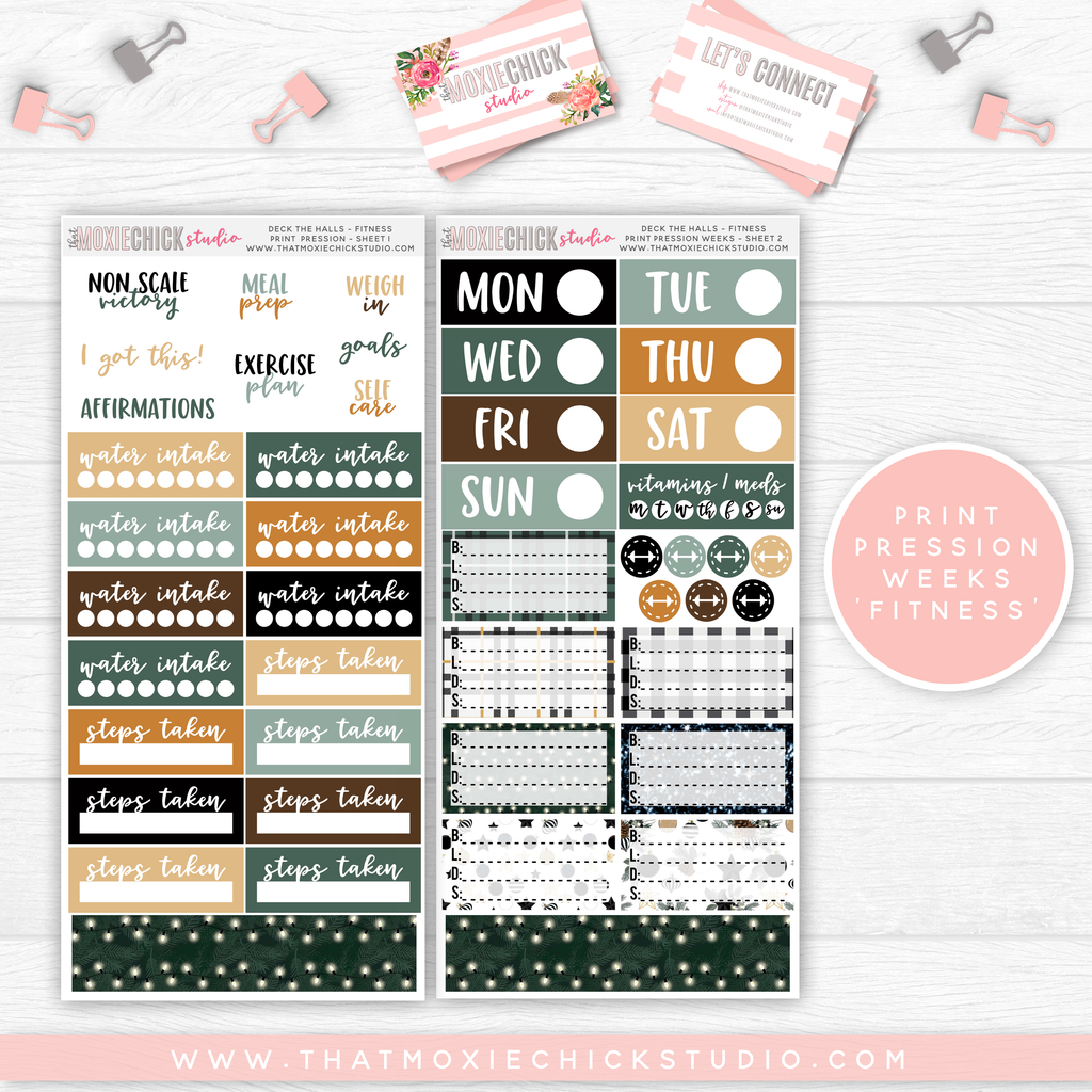 "PRINT PRESSION WEEKS ""FITNESS"" // DECK THE HALLS // NEW RELEASE - That Moxie Chick Studio"