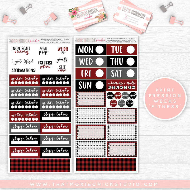 "PRINT PRESSION WEEKS ""FITNESS"" // NERDY PLANNER FRIENDS ""BUFFALO PLAID"" - That Moxie Chick Studio"
