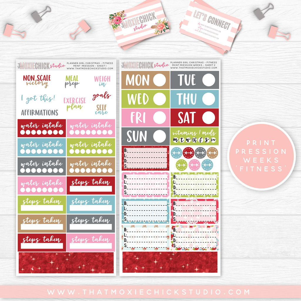 "PRINT PRESSION WEEKS ""FITNESS"" // PLANNER GIRL CHRISTMAS // NEW RELEASE - That Moxie Chick Studio"
