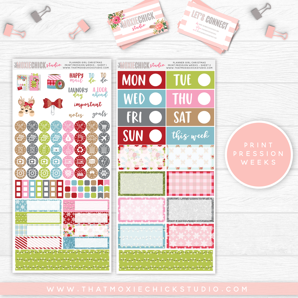 PRINT PRESSION WEEKS // PLANNER GIRL CHRISTMAS MAIN SHEETS // NEW RELEASE