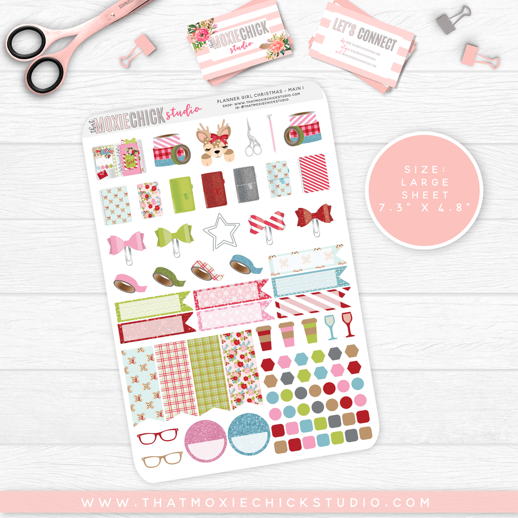 CLEARANCE // PLANNER GIRL CHRISTMAS // 5 LARGE SHEETS - That Moxie Chick Studio