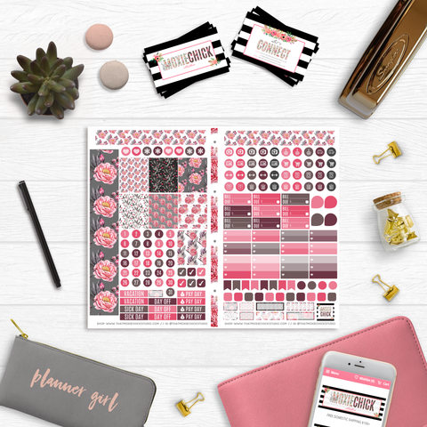 Pocket Size // Peony Beauties Monthly - POCKET SIZE FOLDABLE SHEET - That Moxie Chick Studio