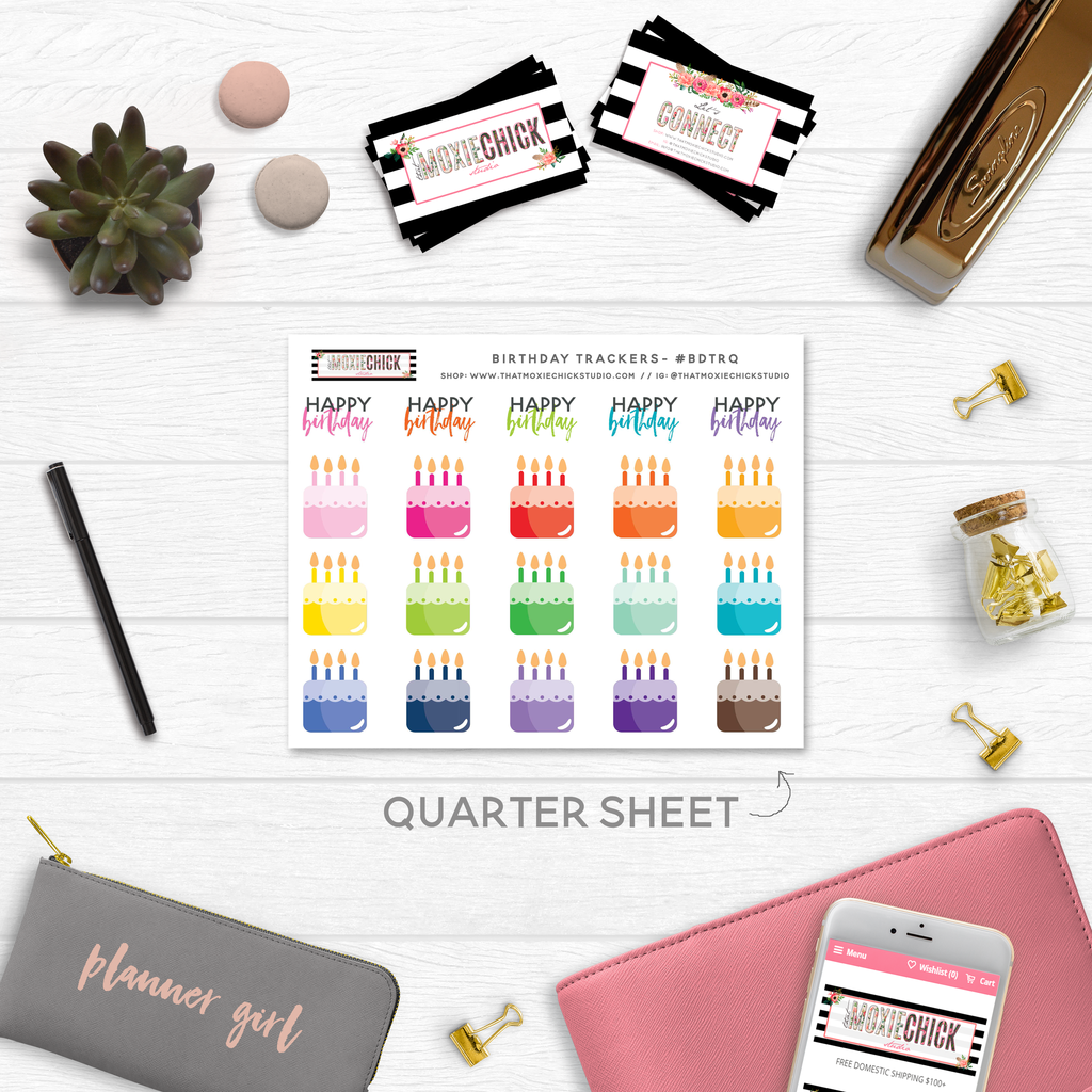 BIRTHDAY TRACKERS // QUARTER SIZE SHEET - That Moxie Chick Studio