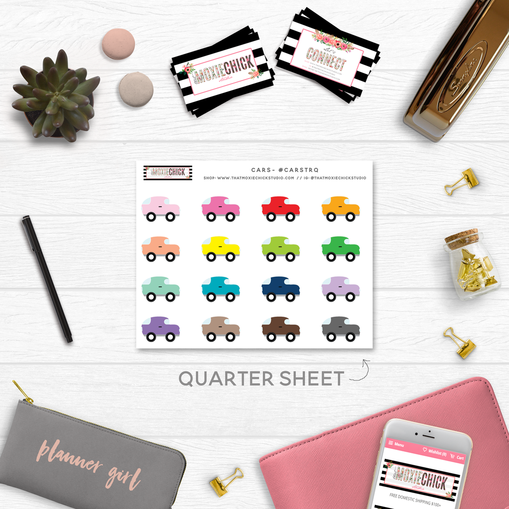 CARS TRACKERS // QUARTER SIZE SHEET - That Moxie Chick Studio