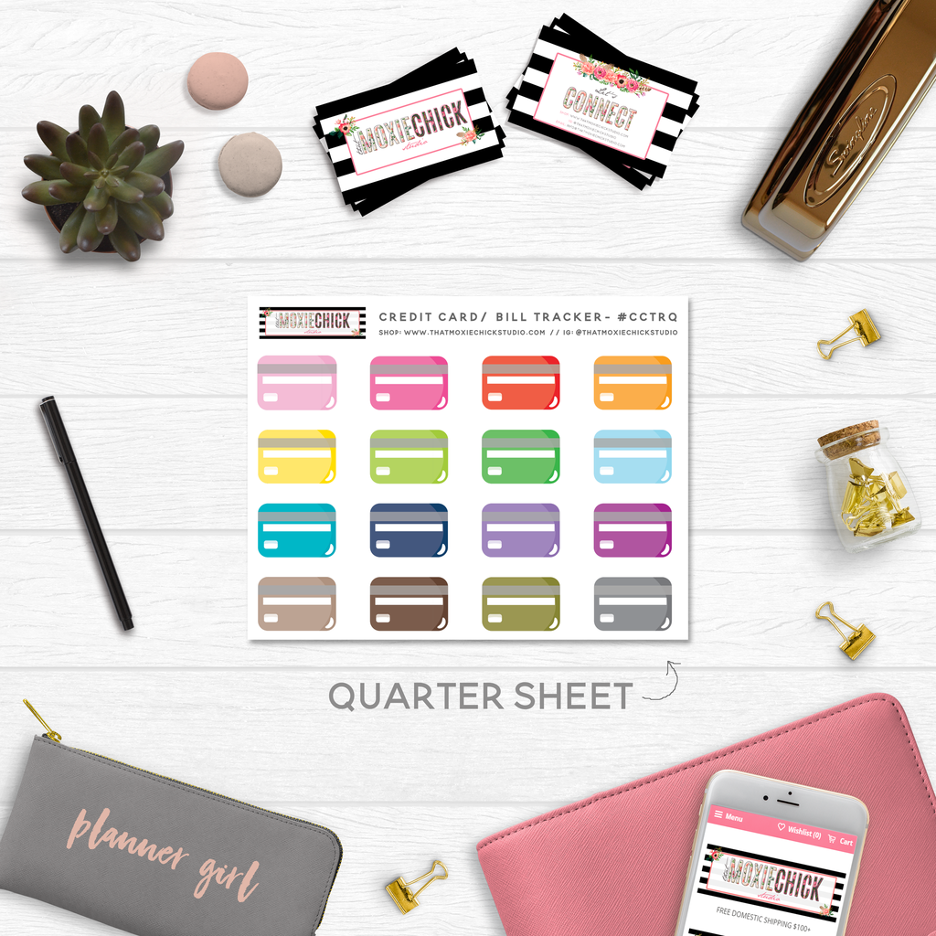 NEW RELEASE! CREDIT CARD TRACKERS // QUARTER SIZE SHEET - That Moxie Chick Studio