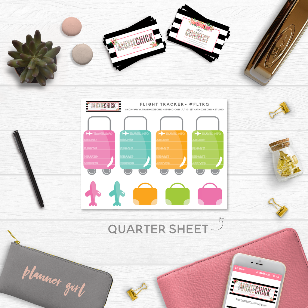 FLIGHT TRACKERS // QUARTER SIZE SHEET - That Moxie Chick Studio