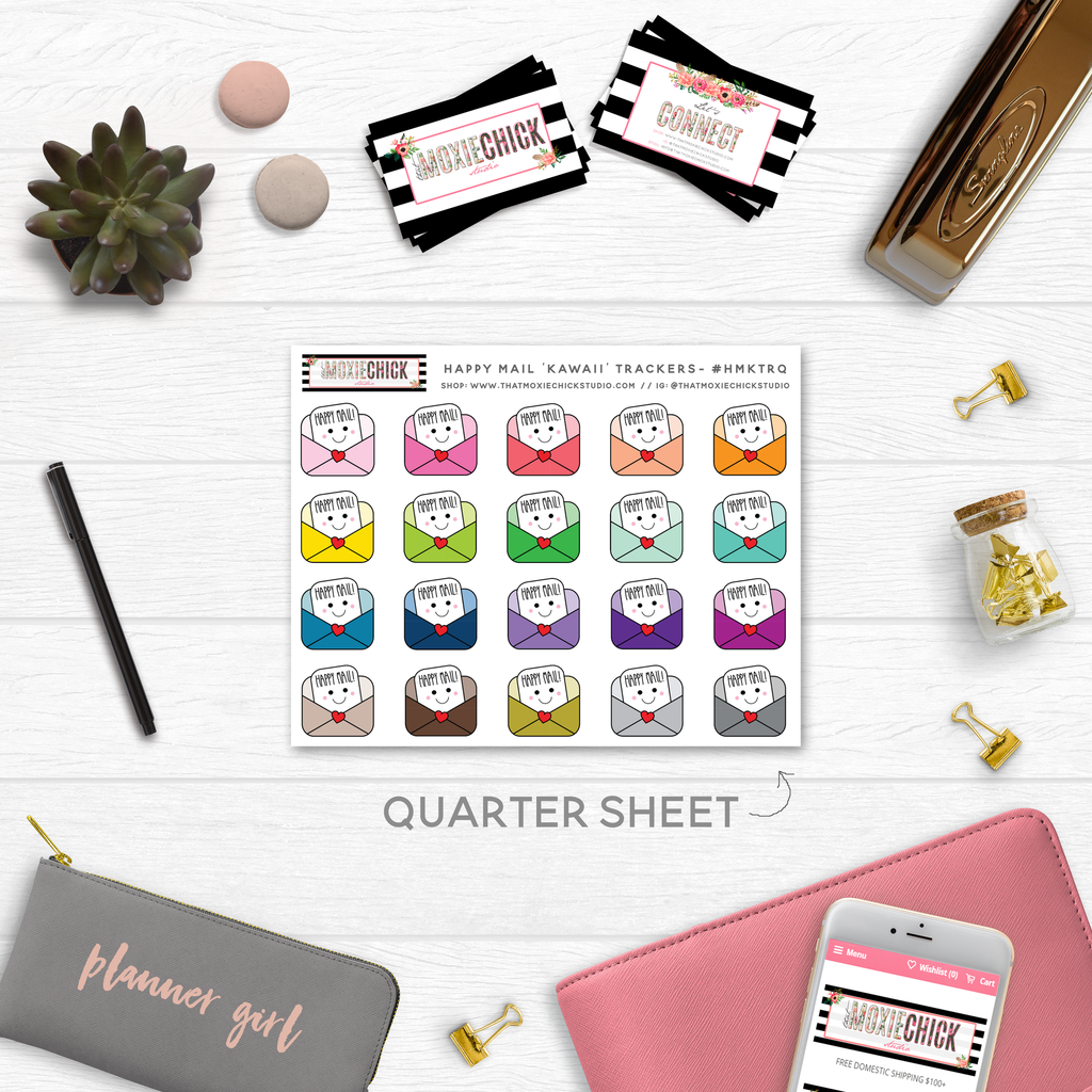 NEW RELEASE! HAPPY MAIL TRACKERS // QUARTER SIZE SHEET - That Moxie Chick Studio