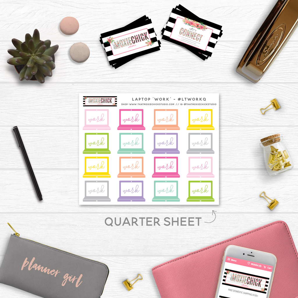 LAPTOP 'WORK' TRACKERS // QUARTER SIZE SHEET - That Moxie Chick Studio