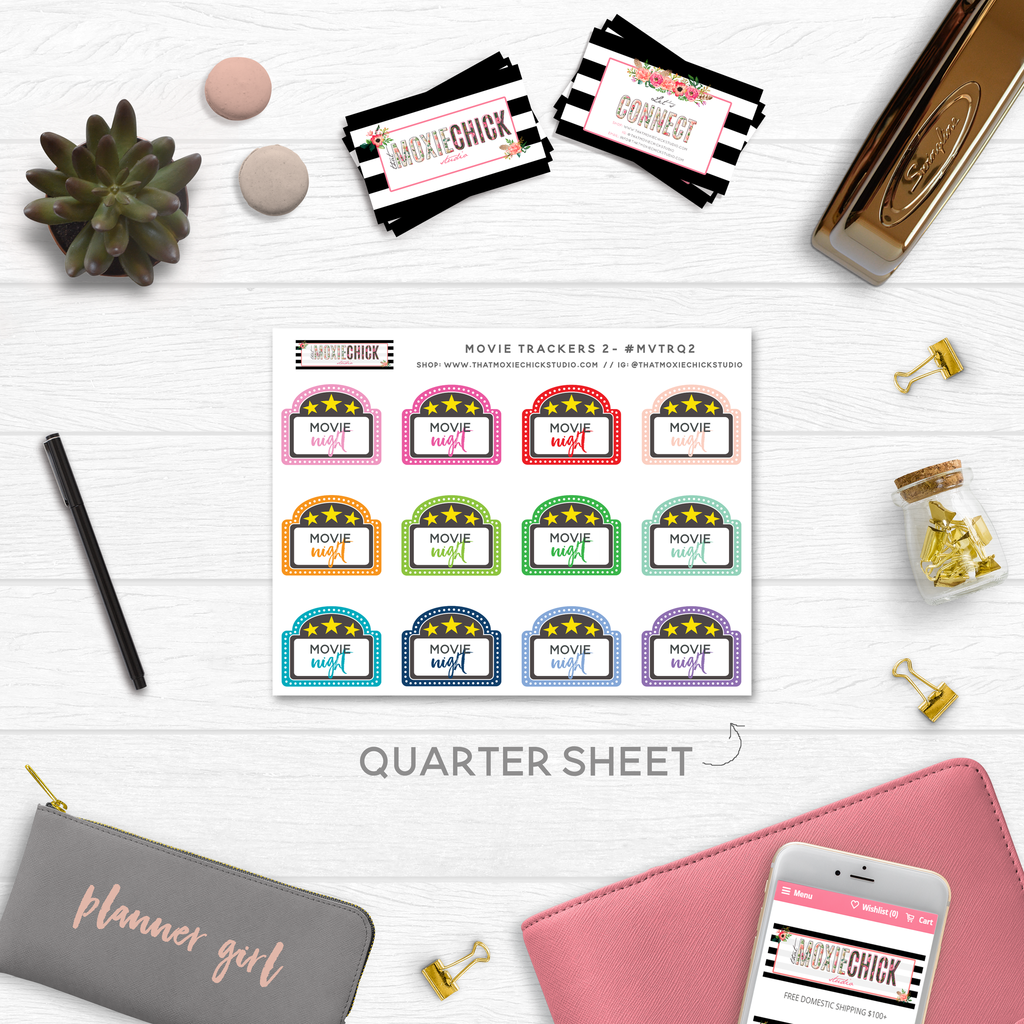 NEW RELEASE! MOVIE TRACKERS #2 // QUARTER SIZE SHEET - That Moxie Chick Studio