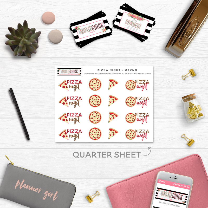 NEW RELEASE! PIZZA NIGHT TRACKERS // QUARTER SIZE SHEET - That Moxie Chick Studio