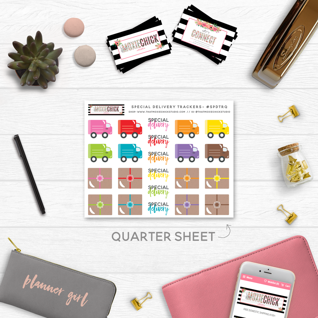 NEW RELEASE! SPECIAL DELIVERY TRACKERS // QUARTER SIZE SHEET - That Moxie Chick Studio