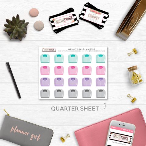 NEW RELEASE! WEIGHT SCALE TRACKERS // QUARTER SIZE SHEET - That Moxie Chick Studio