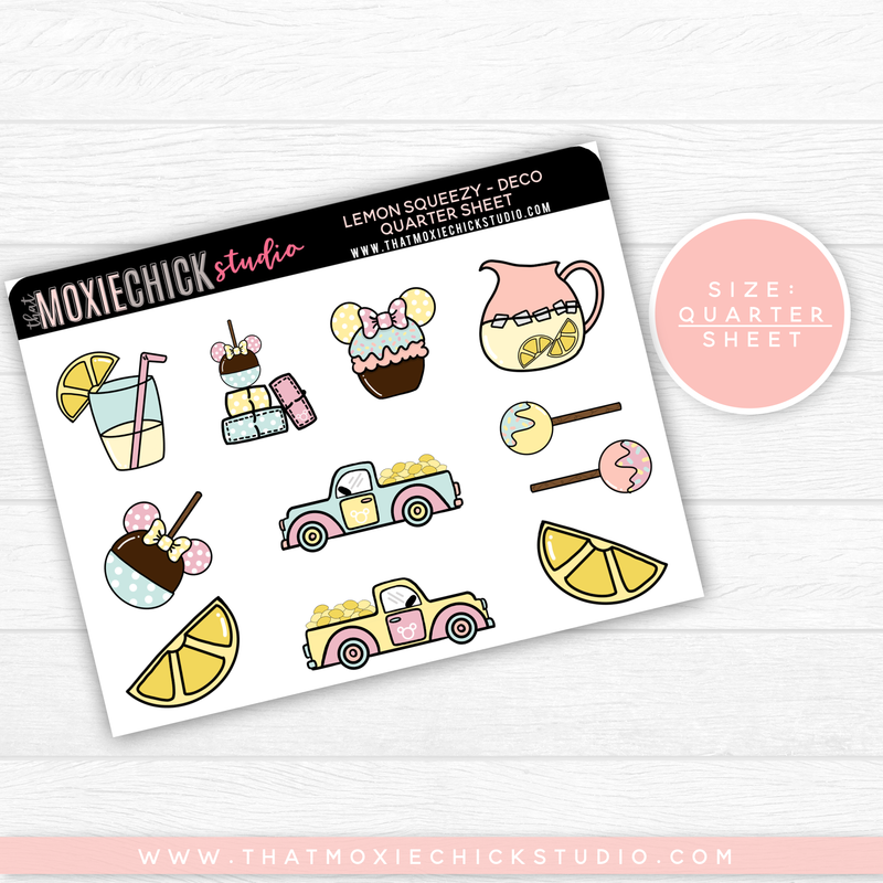 LEMON SQUEEZY - DECO (HAND DRAWN) // QUARTER SHEET // NEW RELEASE - That Moxie Chick Studio