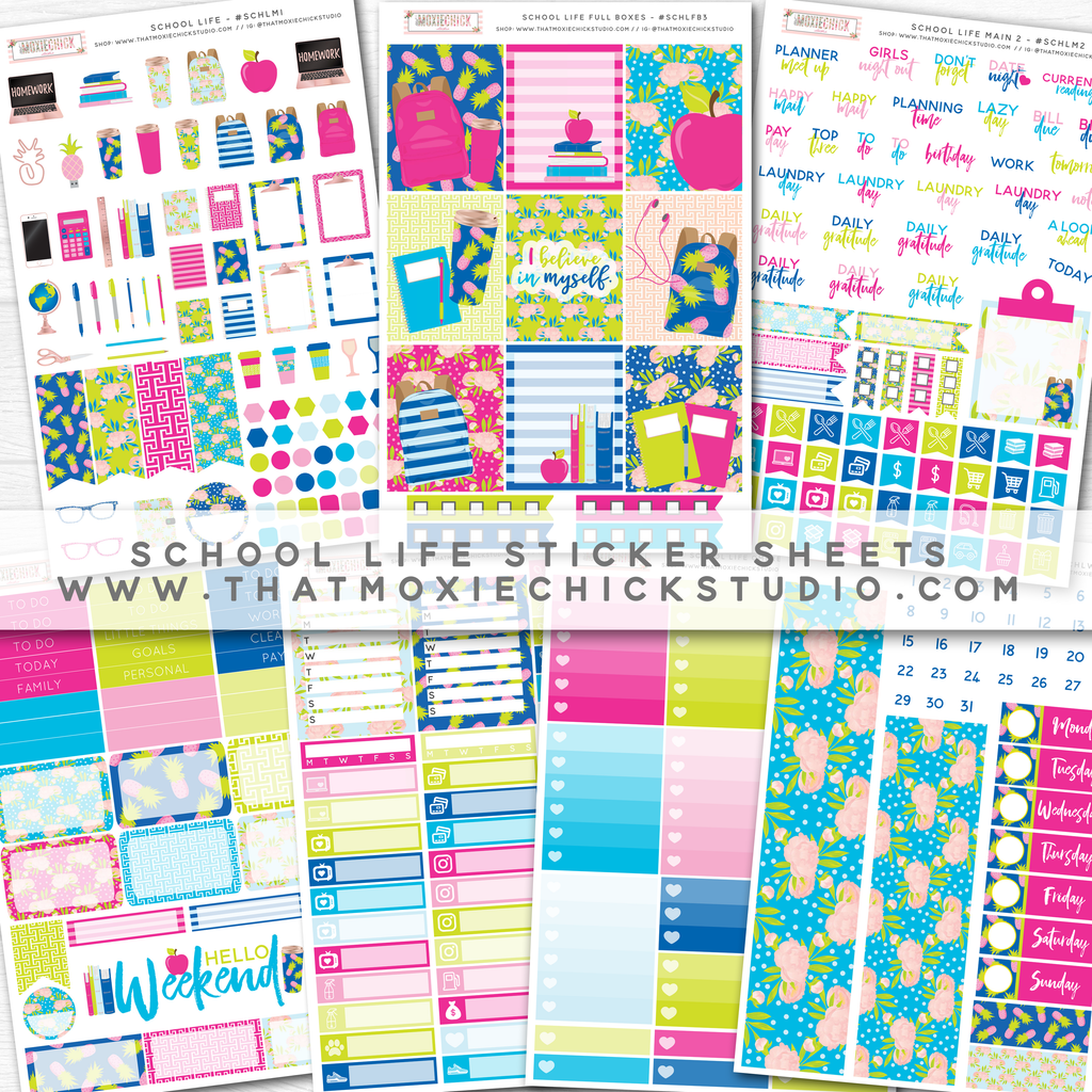 NEW 'School Life 1' Donation Sticker Sheets! // New Release - That Moxie Chick Studio