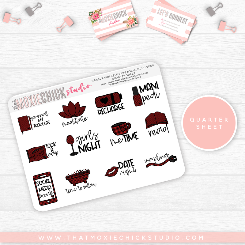 HAND-DRAWN SELF CARE SHEETS #SC101 // New Release - That Moxie Chick Studio