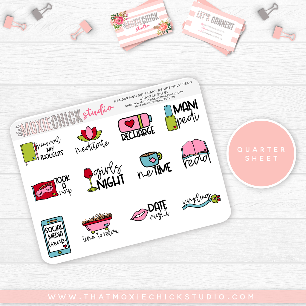 HAND-DRAWN SELF CARE SHEETS #SC103 // New Release - That Moxie Chick Studio