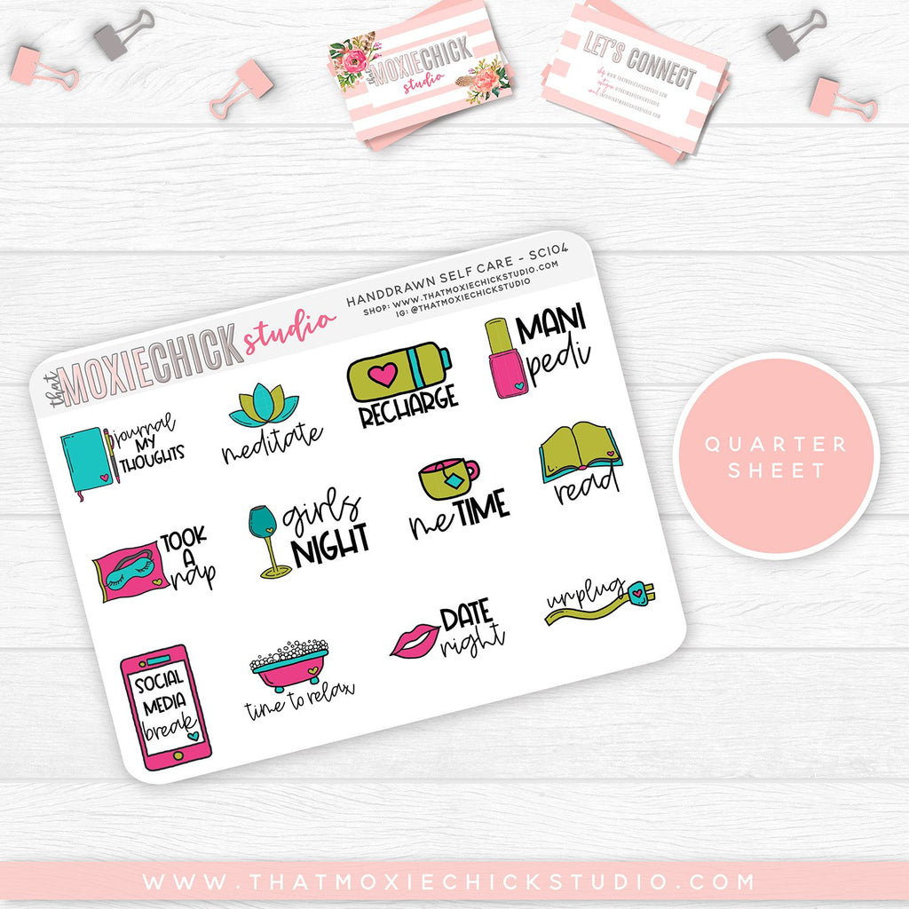 HAND-DRAWN SELF CARE SHEETS #SC104 // New Release - That Moxie Chick Studio