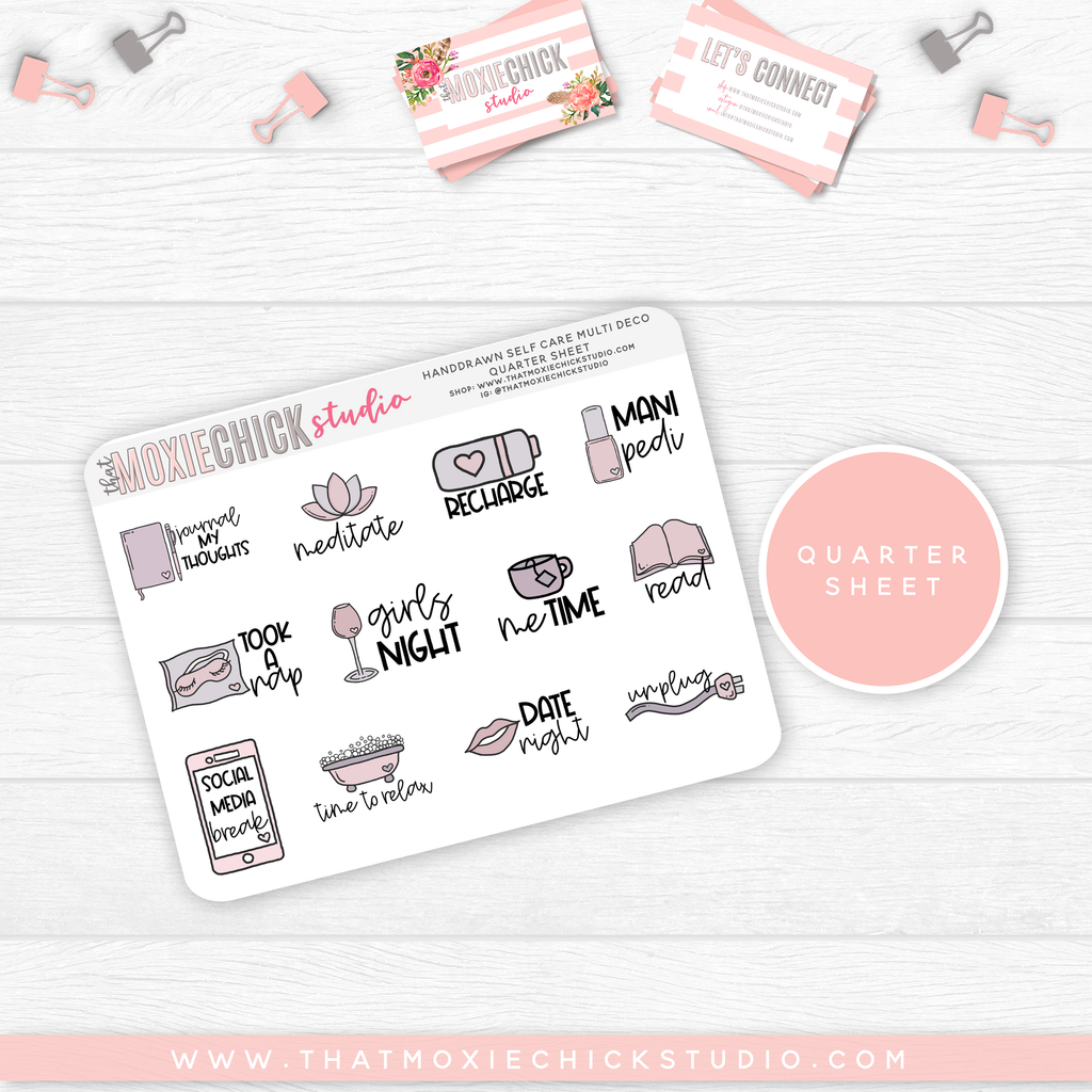 HAND-DRAWN SELF CARE - MULTI DECO // QUARTER SHEET // NEW RELEASE - That Moxie Chick Studio