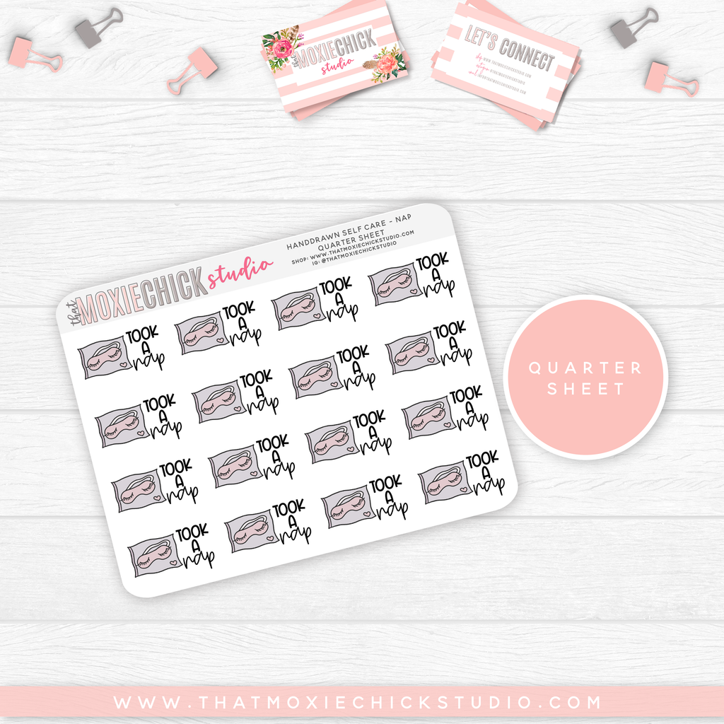 HAND-DRAWN SELF CARE - TOOK A NAP // QUARTER SHEET // NEW RELEASE - That Moxie Chick Studio