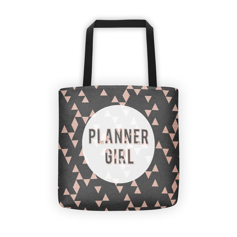 Rose gold triangle 'Planner Girl' tote bag - That Moxie Chick Studio