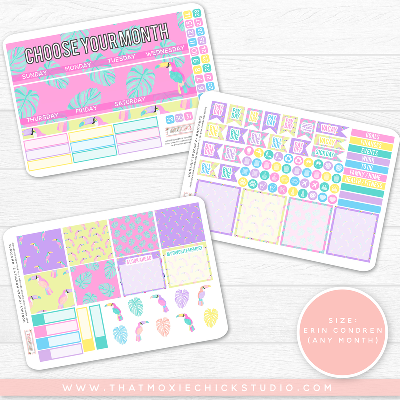 NEW RELEASE // TOUCANS 'CHOOSE YOUR OWN MONTH' // ERIN CONDREN MONTHLY - That Moxie Chick Studio