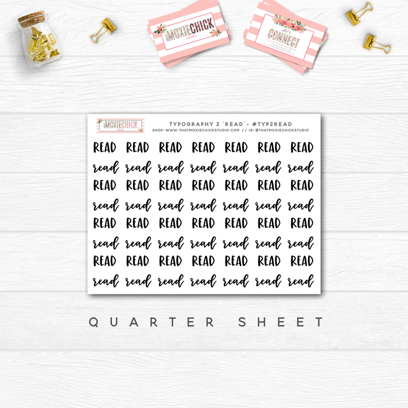 READ / READING TYPOGRAPHY // QUARTER SHEET - That Moxie Chick Studio