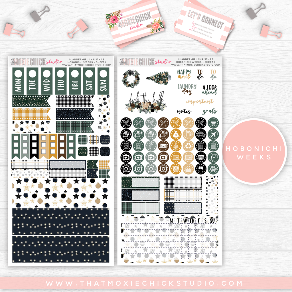 HOBONICHI WEEKS // DECK THE HALLS MAIN SHEETS // NEW RELEASE - That Moxie Chick Studio