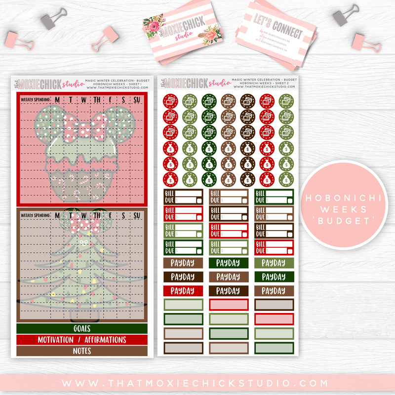 "HOBONICHI WEEKS ""BUDGET"" // MAGIC WINTER CELEBRATION - HAND DRAWN // NEW RELEASE - That Moxie Chick Studio"