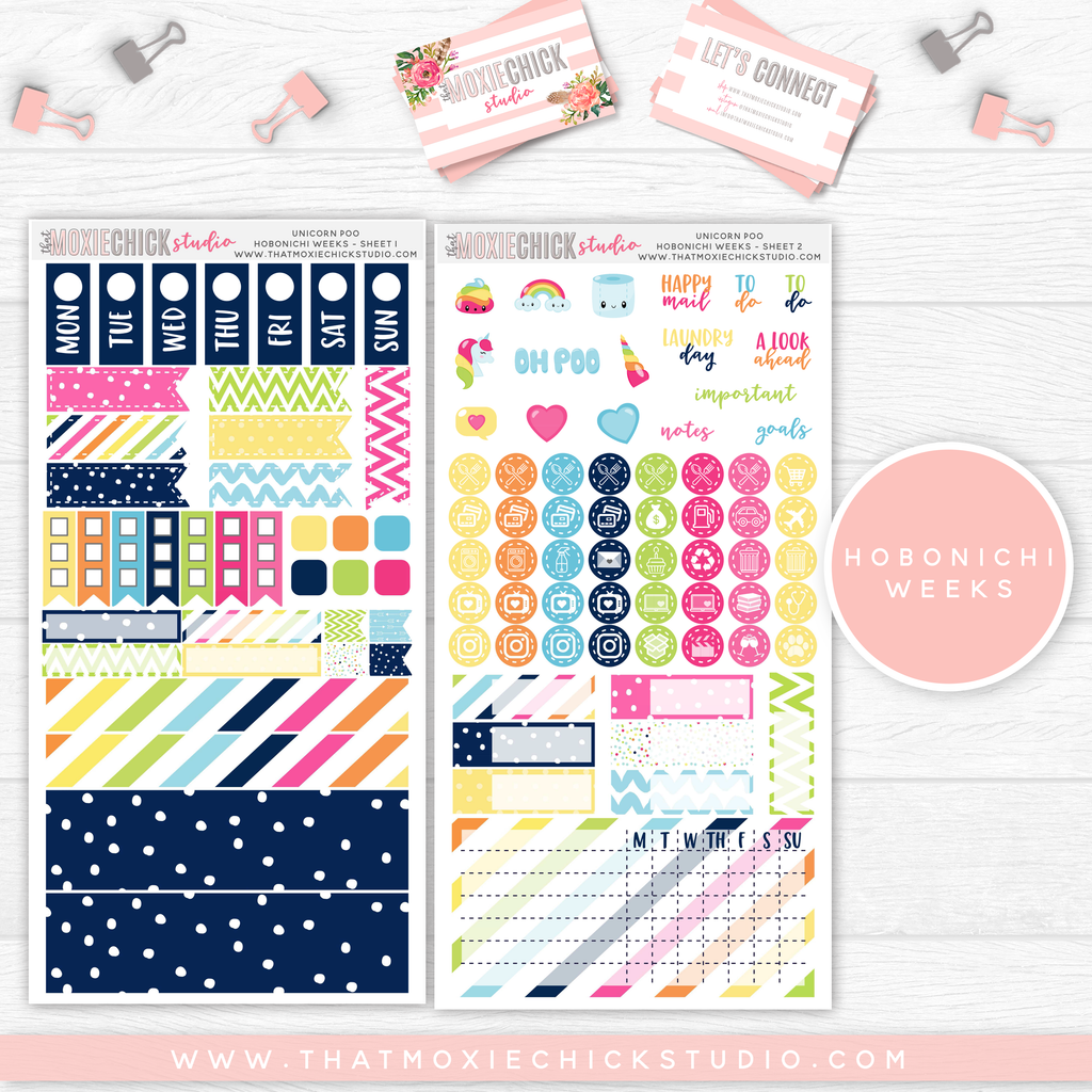 HOBONICHI WEEKS // UNICORN POOP MAIN SHEETS // NEW RELEASE - That Moxie Chick Studio