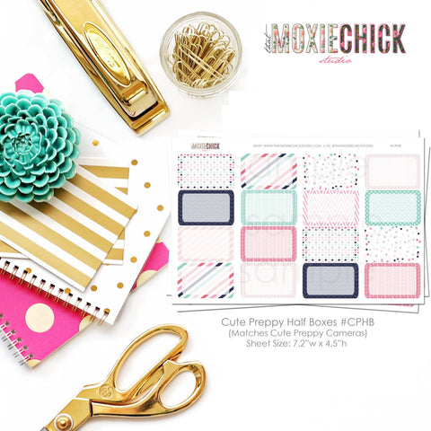 16 Half Boxes sticker sheet - Matches Cute Preppy Camera Sheets #CPHB - That Moxie Chick Studio