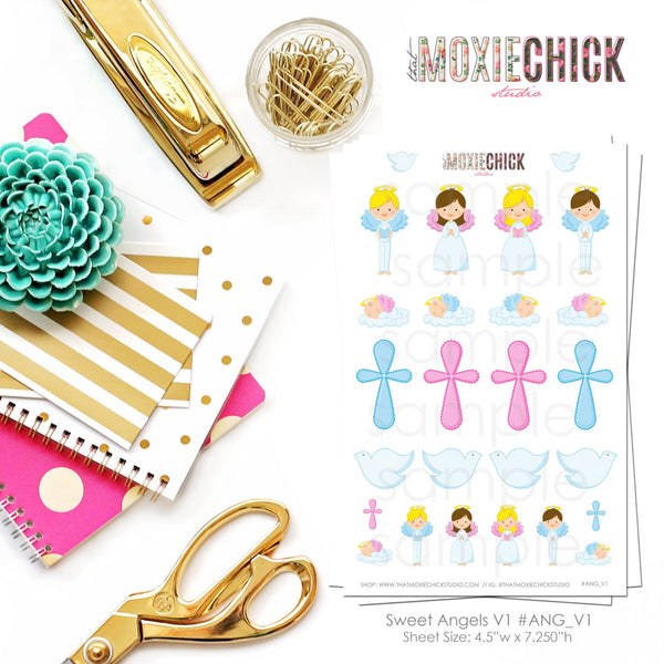 Sweet Angels Version 1 - Great for Erin Condren, Plum Paper and more! - That Moxie Chick Studio