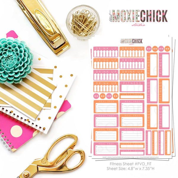 32 Fitness Tracker Stickers - Color: Light Pink and Light Orange // Drink Up // Steps Taken // Meal Prep // Great for Erin Condren planners! - That Moxie Chick Studio