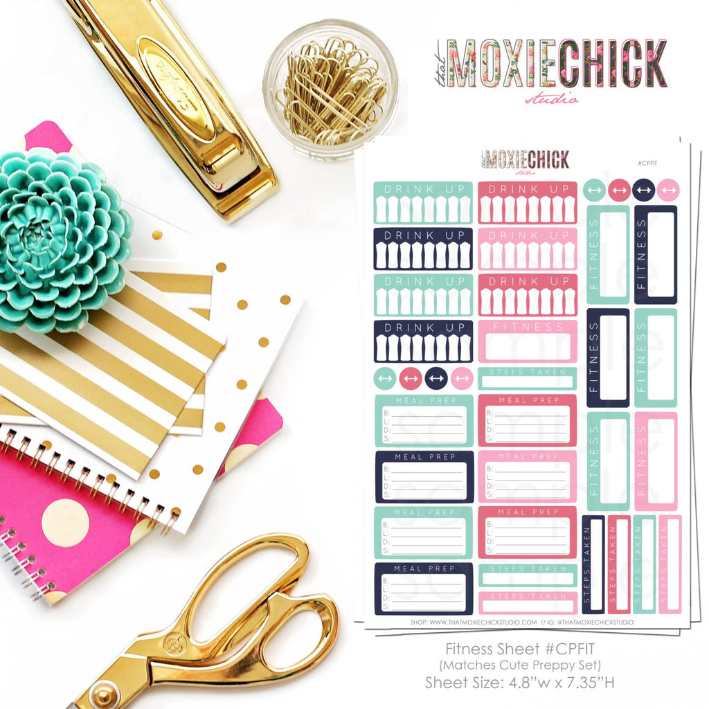 32 Fitness Tracker Stickers - Matches CUTE PREPPY set // Drink Up // Steps Taken // Meal Prep // Great for planners! - That Moxie Chick Studio