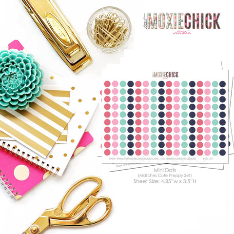 160 Mini Dots - Matches Cute Preppy set // Great for planners! #DTS_CP - That Moxie Chick Studio