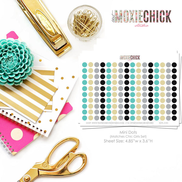 160 Mini Dots - Matches Chic Girls set // Drink Up // Steps Taken // Meal Prep // Great for planners! #DTS_CHG - That Moxie Chick Studio