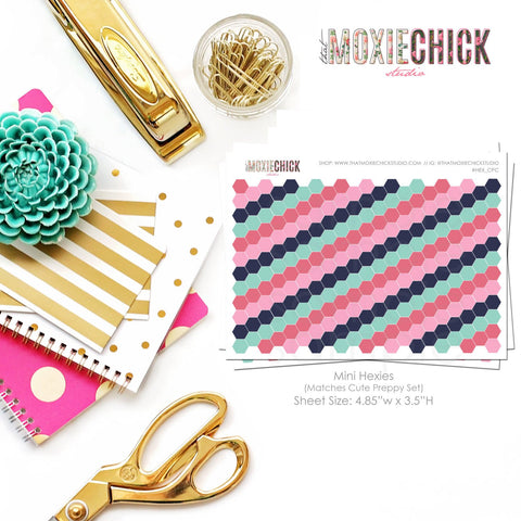242 Mini Hexies - Matches Cute Preppy set // Great for planners! #HEX_CPC - That Moxie Chick Studio