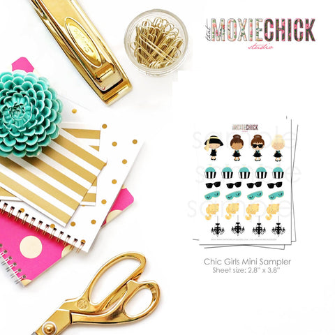 Chic Girls Mini Sampler Stickers - Cupcakes, Sunglasses, Cat, Chandelier - Great for Erin Condren, Plum Paper, Inkwell planners! #CGSAMP - That Moxie Chick Studio